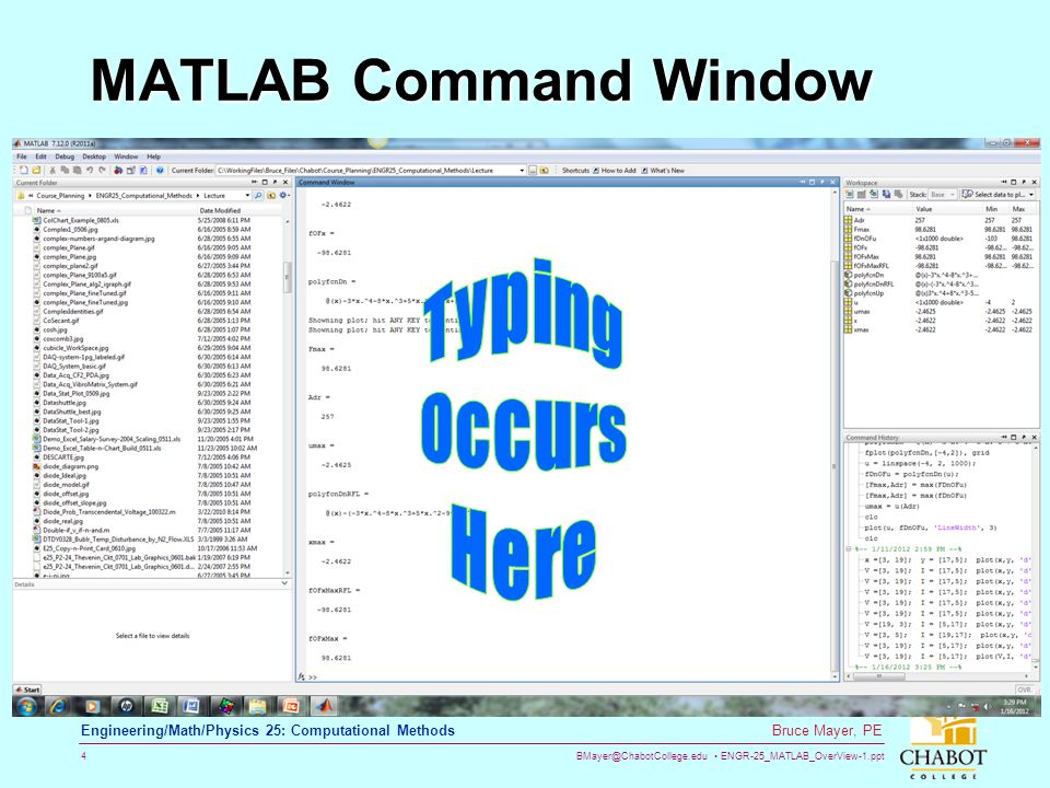 MATLAB Command Window Typing Occurs Here