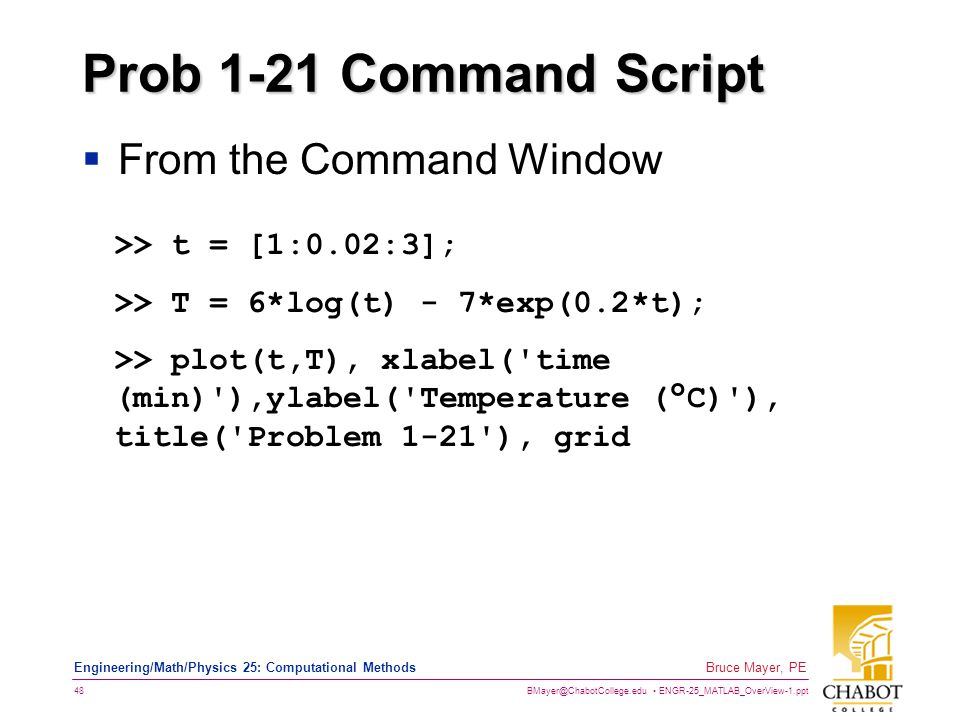 Prob 1-21 Command Script From the Command Window