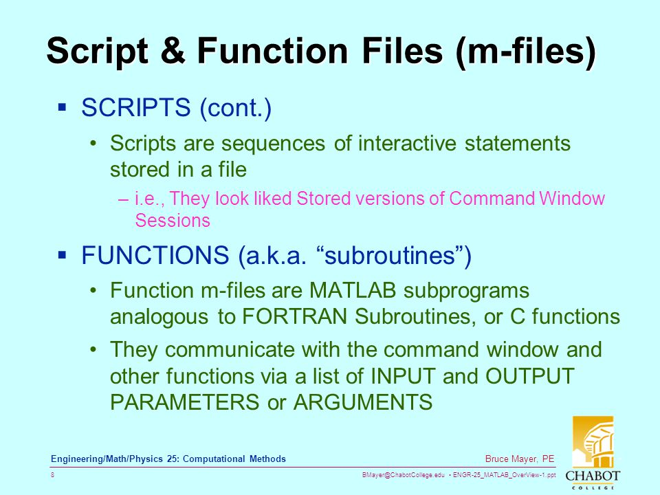 Script & Function Files (m-files)