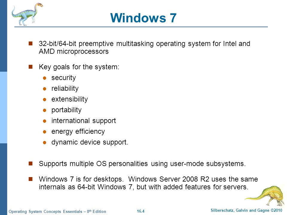 Windows 7 32-bit/64-bit preemptive multitasking operating system for Intel and AMD microprocessors.
