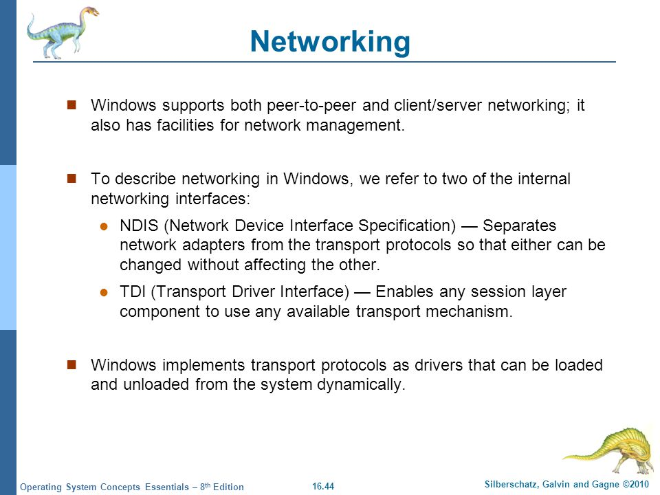 Networking Windows supports both peer-to-peer and client/server networking; it also has facilities for network management.