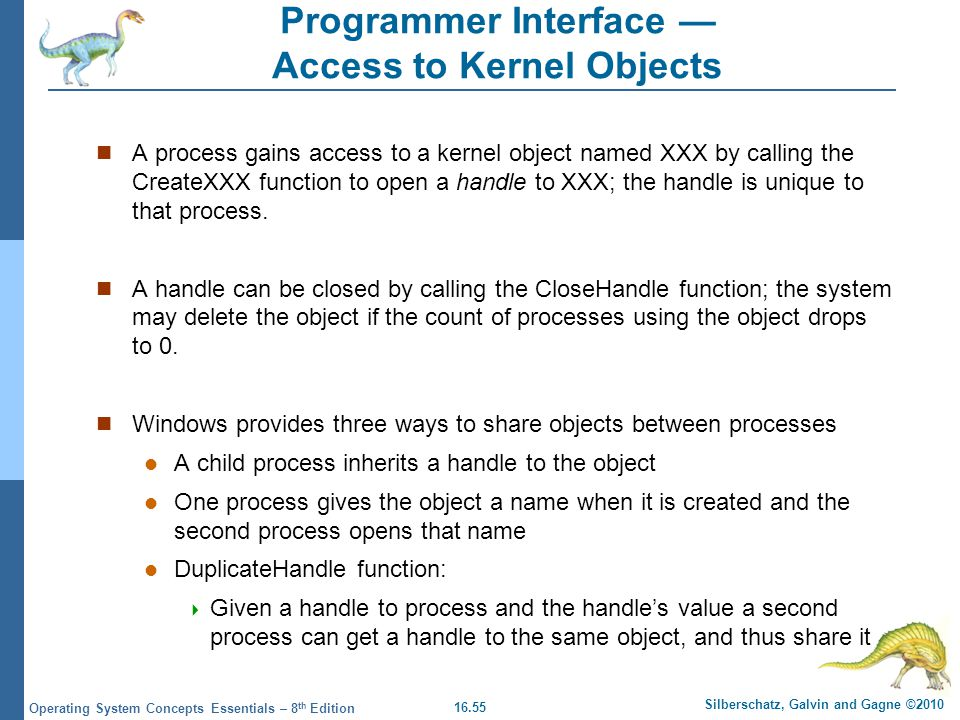 Programmer Interface — Access to Kernel Objects