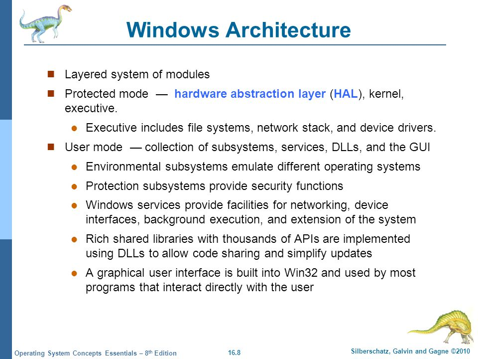 Windows Architecture Layered system of modules