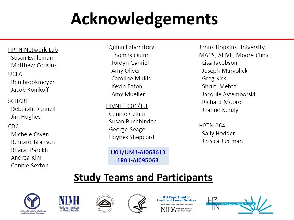 Acknowledgements Study Teams and Participants Quinn Laboratory