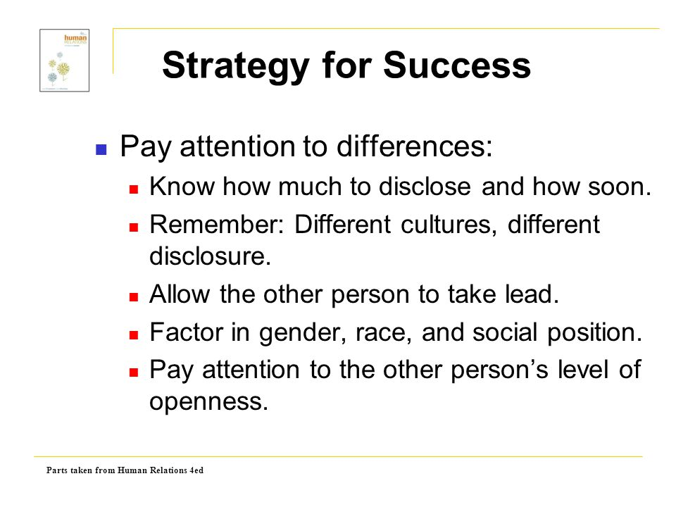 Strategy for Success Pay attention to differences: