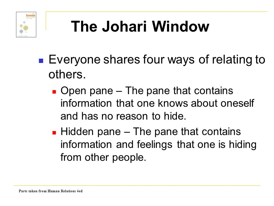 The Johari Window Everyone shares four ways of relating to others.