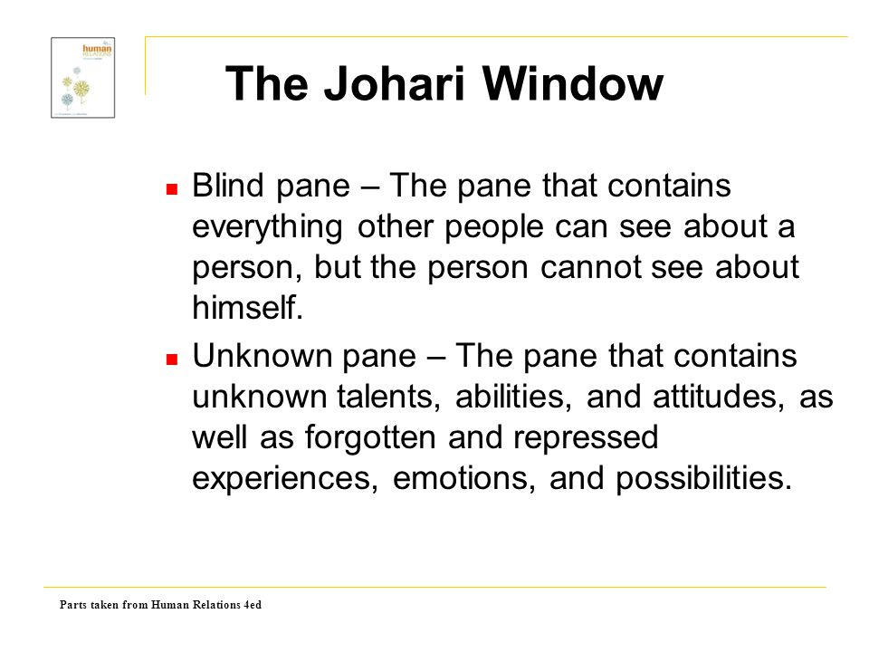 The Johari Window Blind pane – The pane that contains everything other people can see about a person, but the person cannot see about himself.
