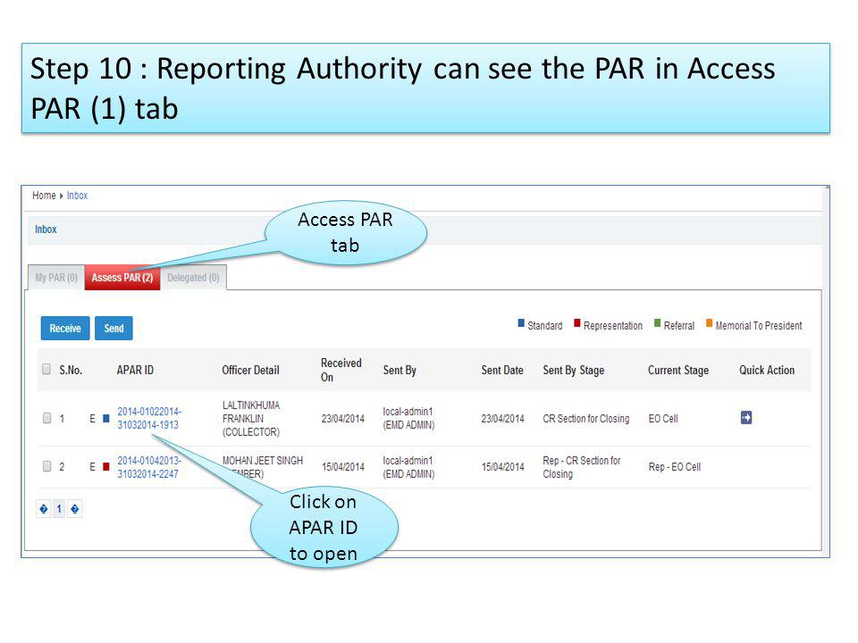 Step 10 : Reporting Authority can see the PAR in Access PAR (1) tab