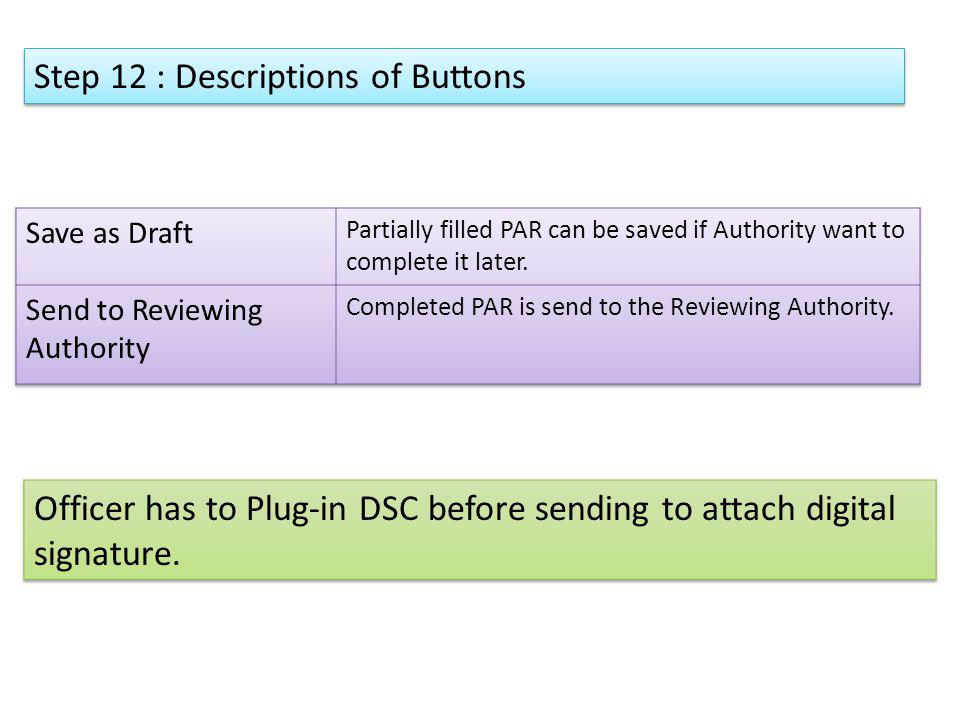 Step 12 : Descriptions of Buttons