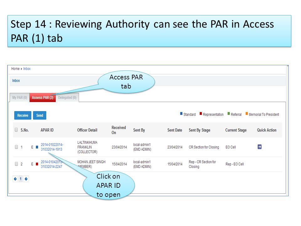 Step 14 : Reviewing Authority can see the PAR in Access PAR (1) tab