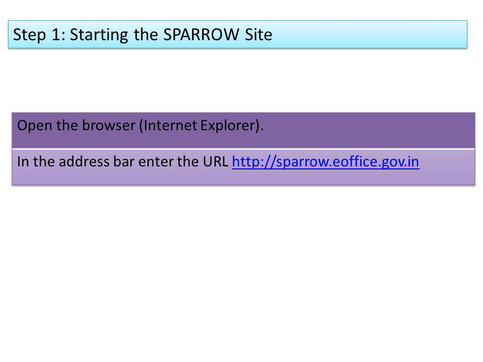 Step 1: Starting the SPARROW Site