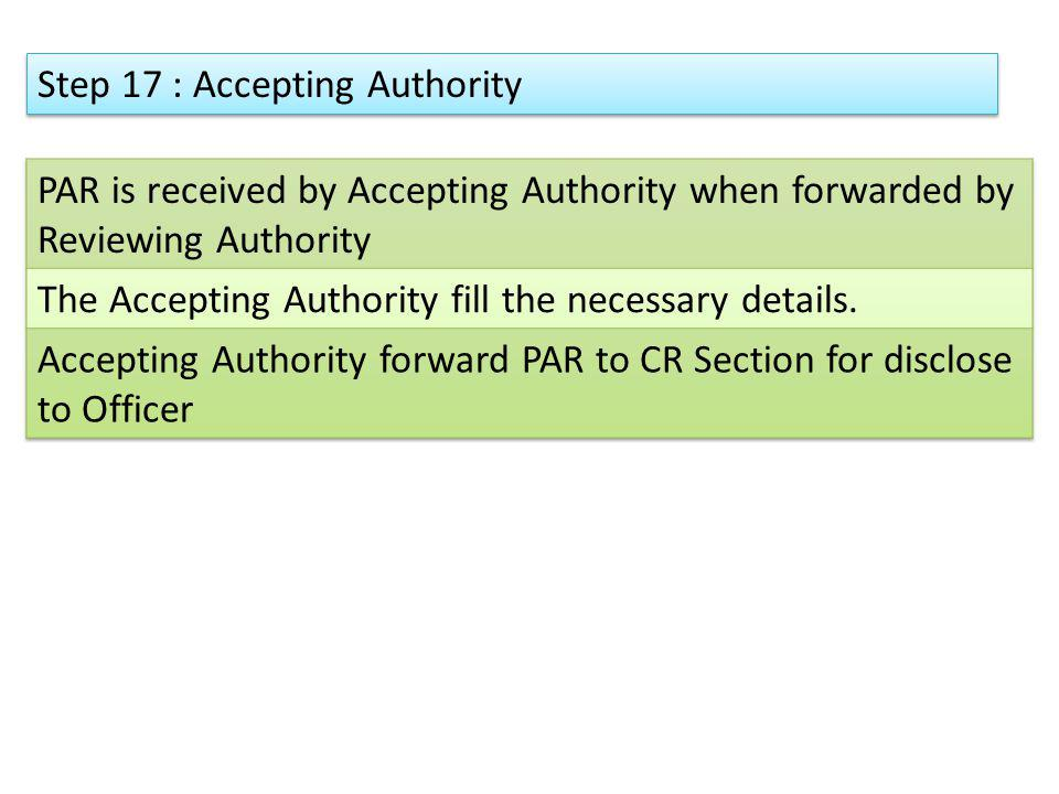 Step 17 : Accepting Authority