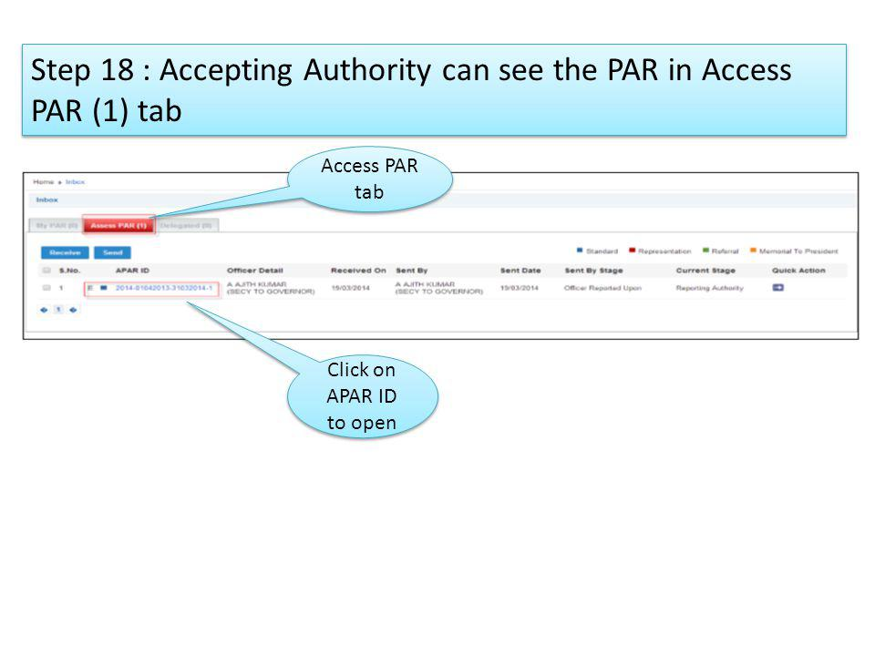 Step 18 : Accepting Authority can see the PAR in Access PAR (1) tab