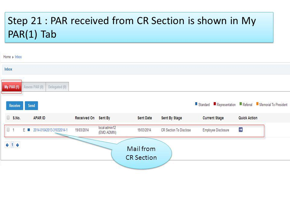 Step 21 : PAR received from CR Section is shown in My PAR(1) Tab