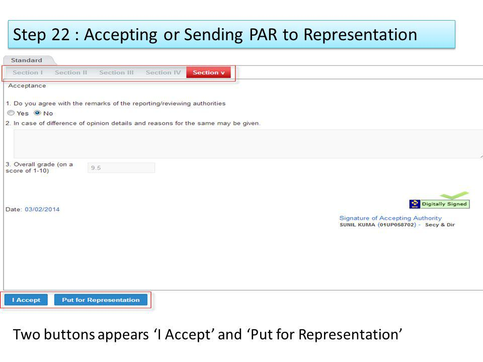Step 22 : Accepting or Sending PAR to Representation