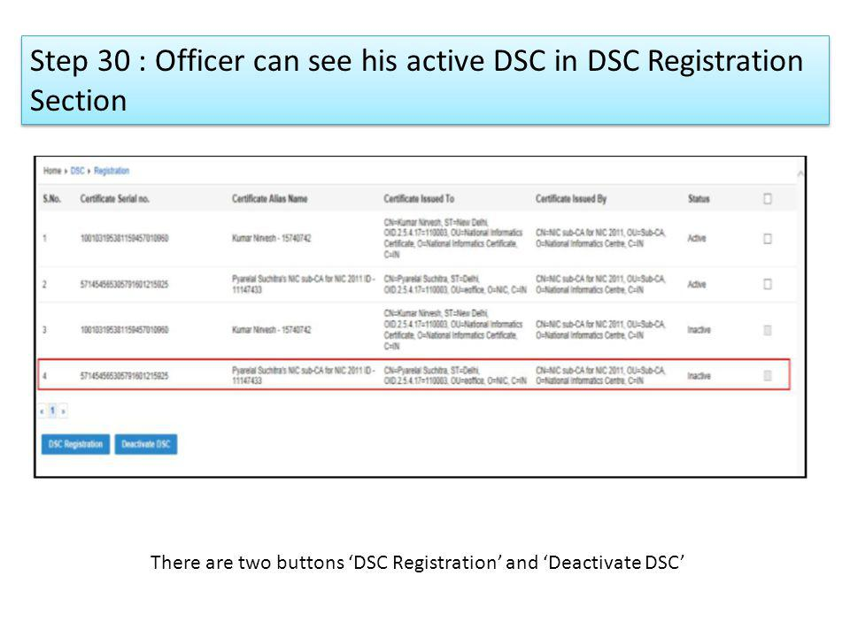 Step 30 : Officer can see his active DSC in DSC Registration Section
