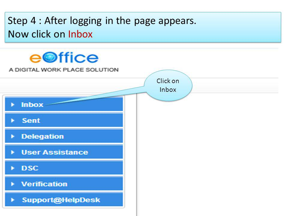 Step 4 : After logging in the page appears. Now click on Inbox
