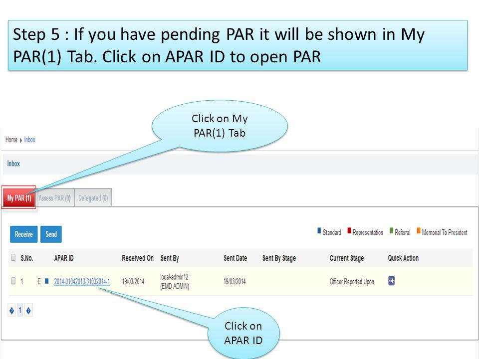 Step 5 : If you have pending PAR it will be shown in My PAR(1) Tab