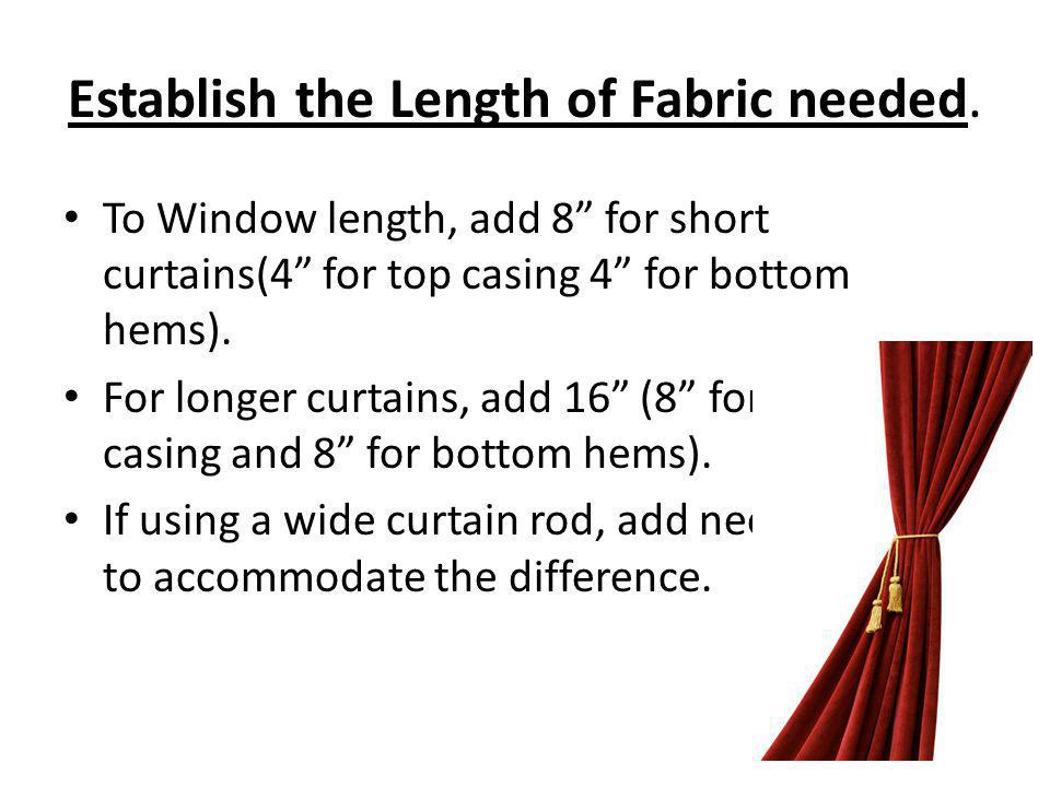 Establish the Length of Fabric needed.