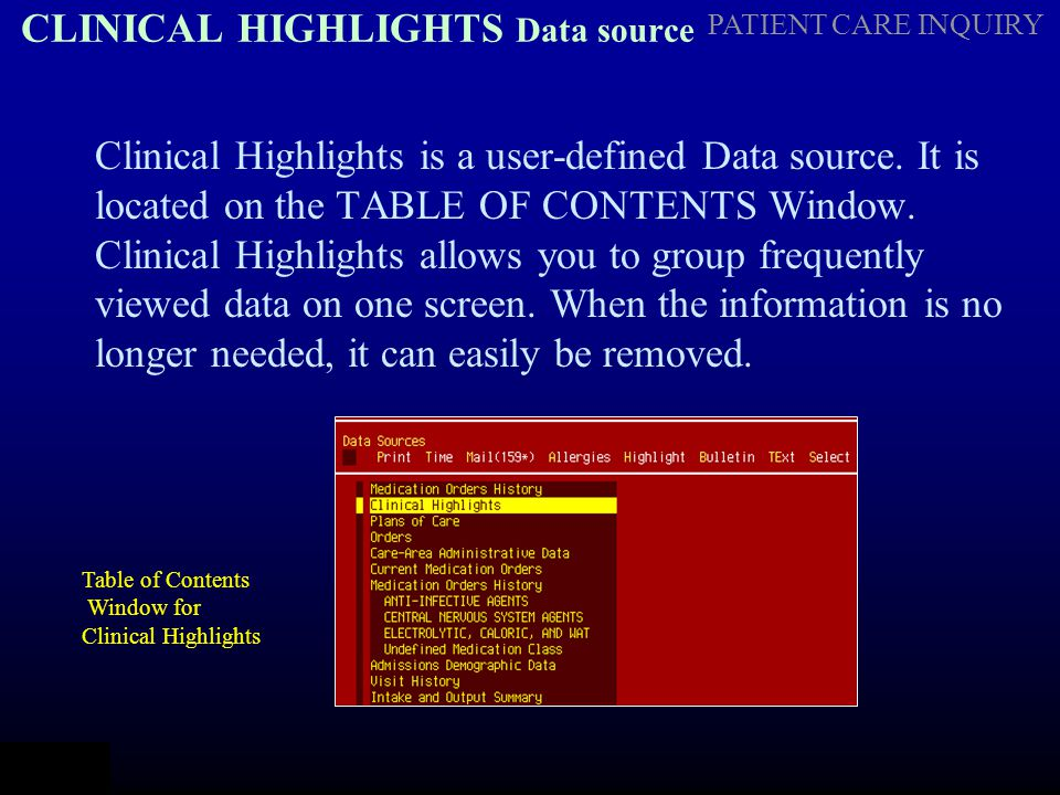 CLINICAL HIGHLIGHTS Data source
