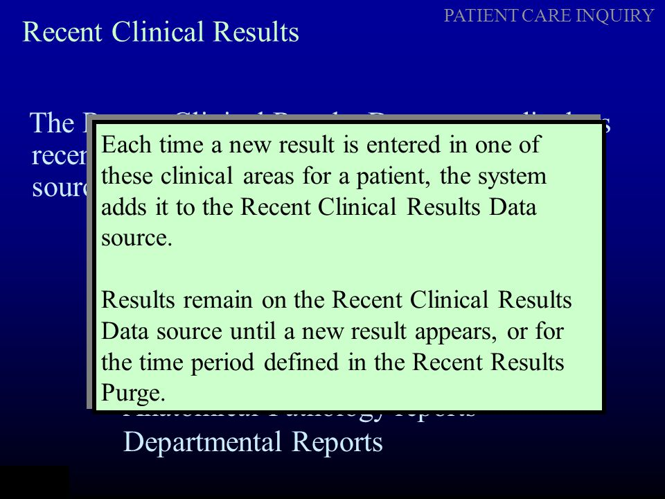 Recent Clinical Results
