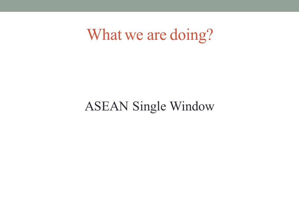 What we are doing ASEAN Single Window