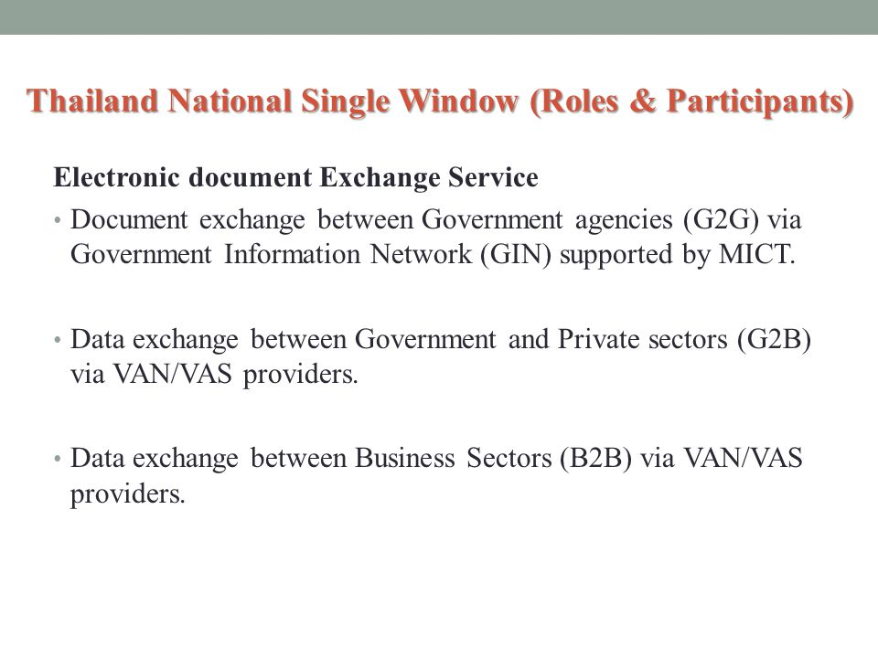 Thailand National Single Window (Roles & Participants)