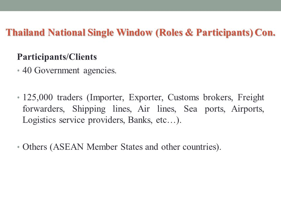 Thailand National Single Window (Roles & Participants) Con.