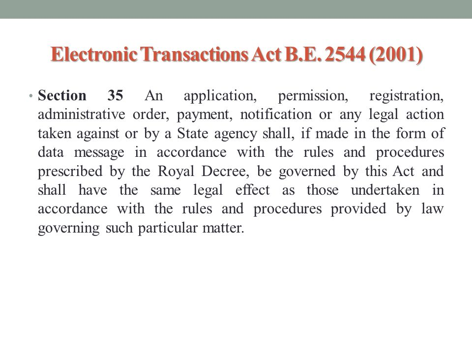 Electronic Transactions Act B.E. 2544 (2001)