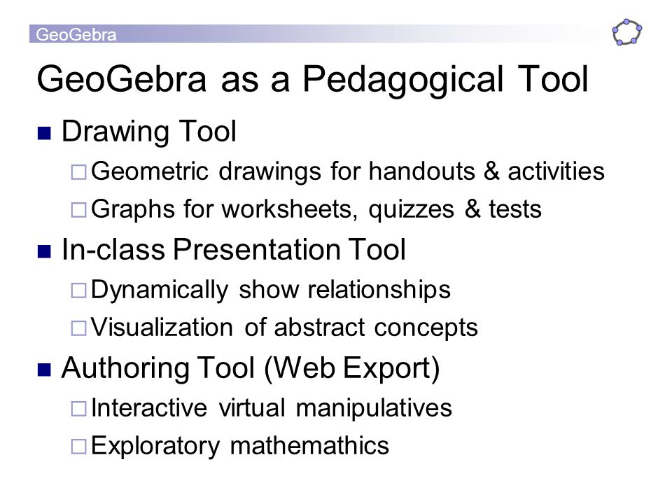 GeoGebra as a Pedagogical Tool