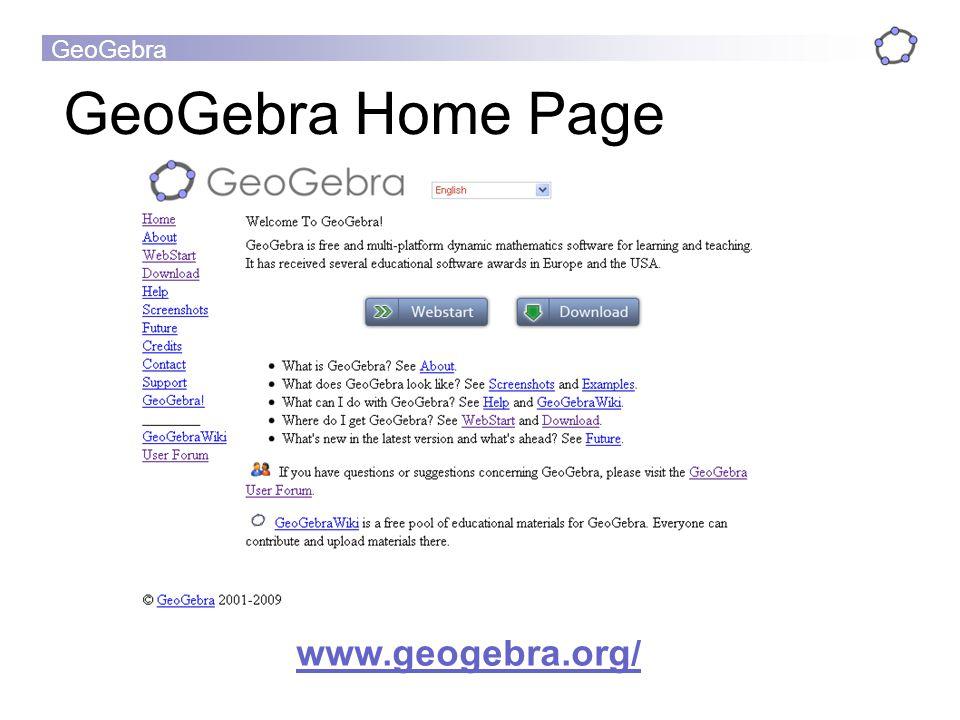 GeoGebra Home Page www.geogebra.org/