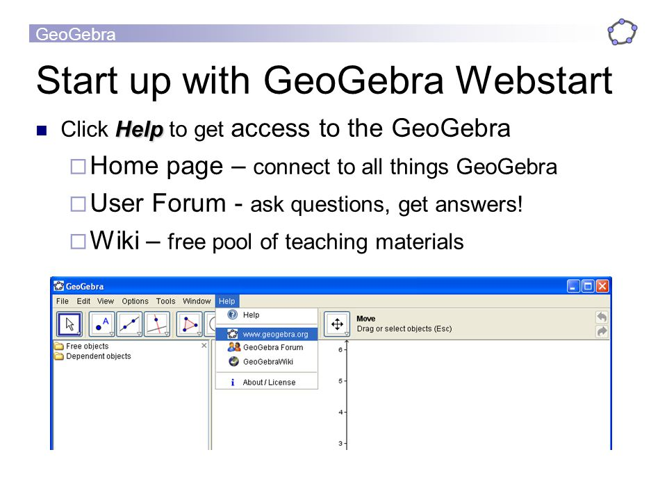 Start up with GeoGebra Webstart
