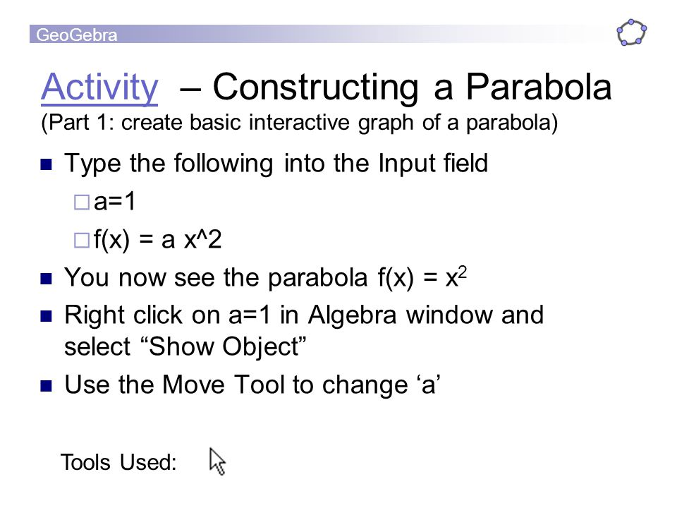 Activity – Constructing a Parabola (Part 1: create basic interactive graph of a parabola)