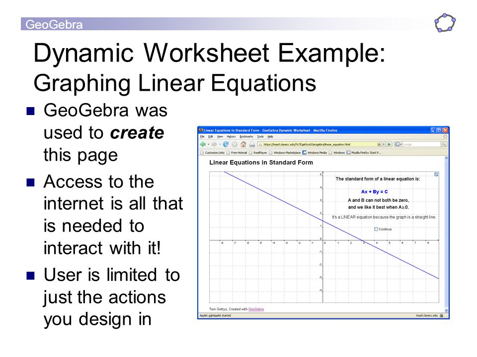 Dynamic Worksheet Example: Graphing Linear Equations