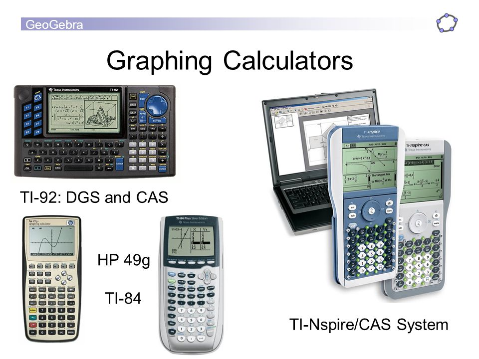 Graphing Calculators TI-92: DGS and CAS HP 49g TI-84