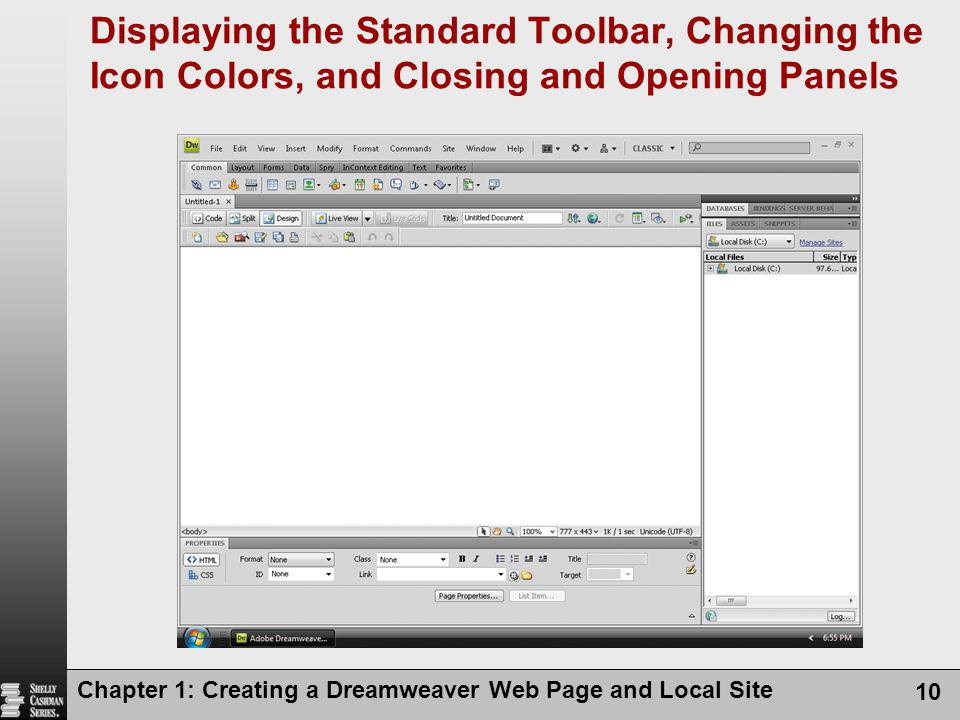 Displaying the Standard Toolbar, Changing the Icon Colors, and Closing and Opening Panels