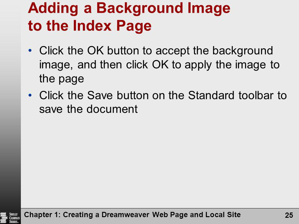 Adding a Background Image to the Index Page