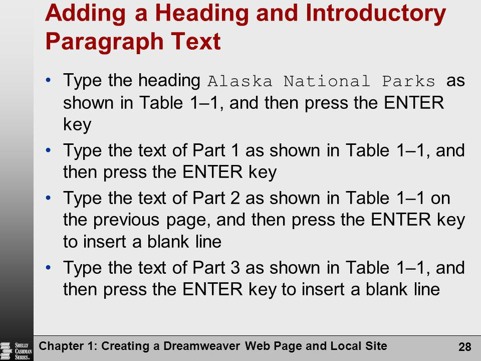 Adding a Heading and Introductory Paragraph Text