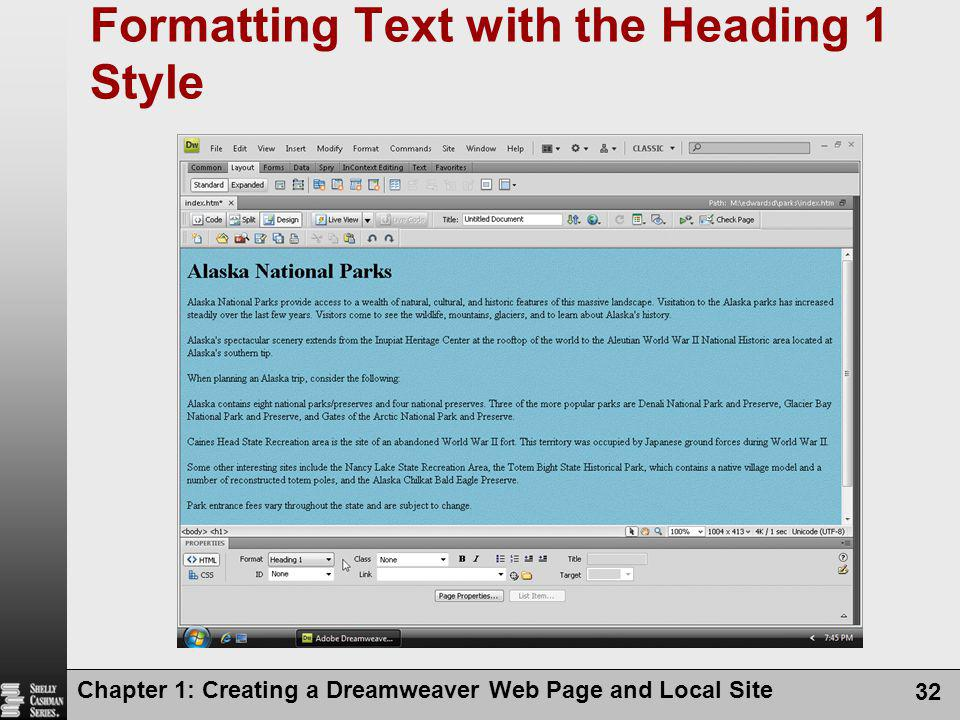 Formatting Text with the Heading 1 Style