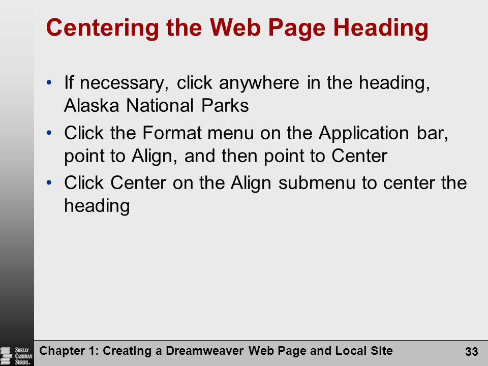 Centering the Web Page Heading