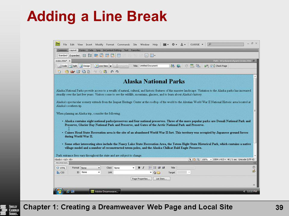 Adding a Line Break Chapter 1: Creating a Dreamweaver Web Page and Local Site