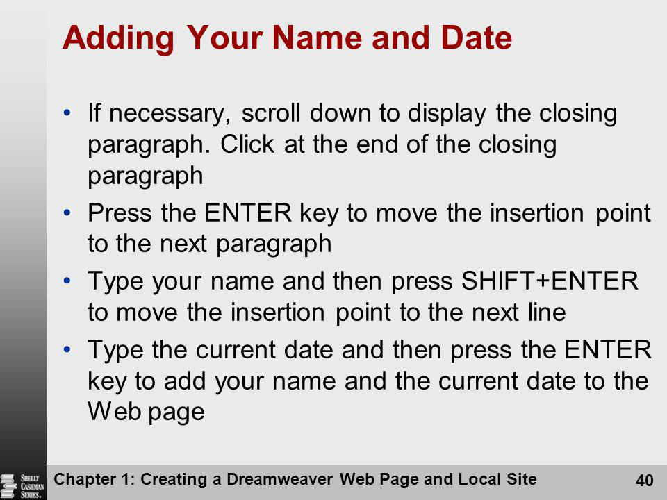 Adding Your Name and Date