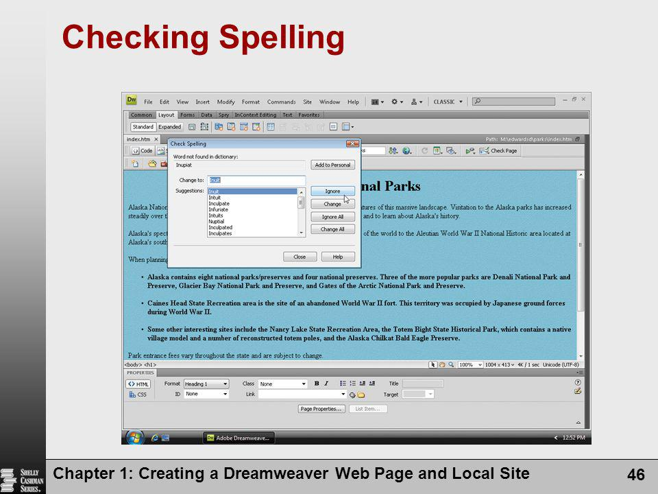 Checking Spelling Chapter 1: Creating a Dreamweaver Web Page and Local Site
