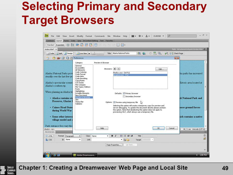 Selecting Primary and Secondary Target Browsers