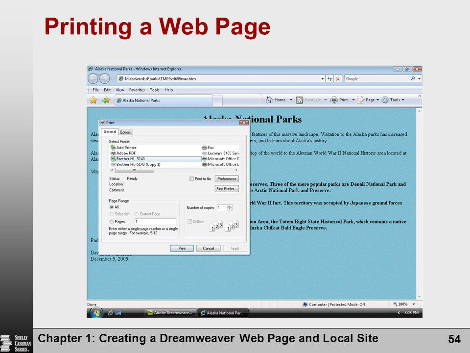 Printing a Web Page Chapter 1: Creating a Dreamweaver Web Page and Local Site