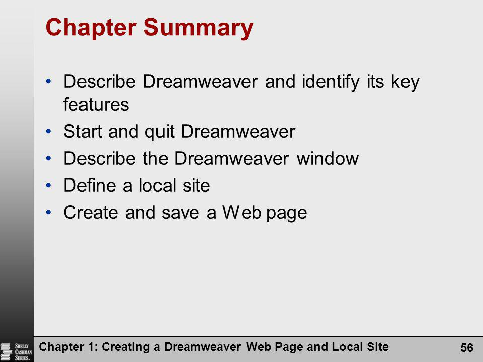 Chapter Summary Describe Dreamweaver and identify its key features