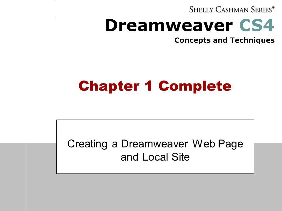 Creating a Dreamweaver Web Page and Local Site