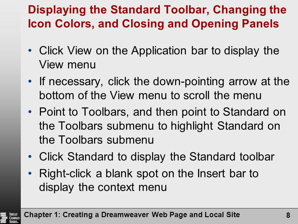 Click View on the Application bar to display the View menu