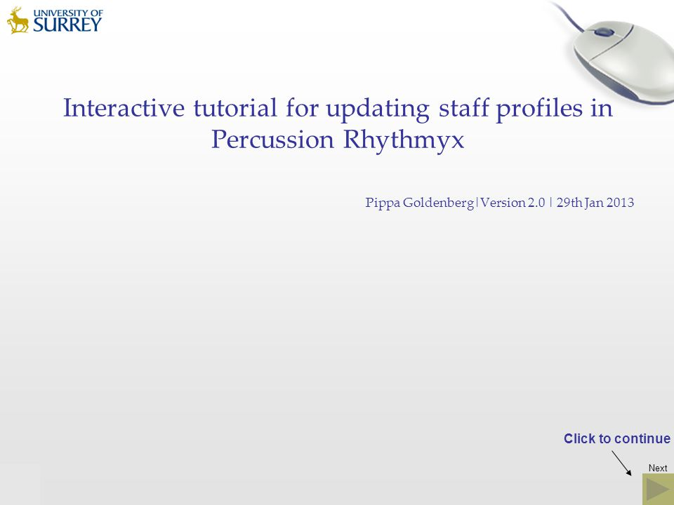 Interactive tutorial for updating staff profiles in Percussion Rhythmyx