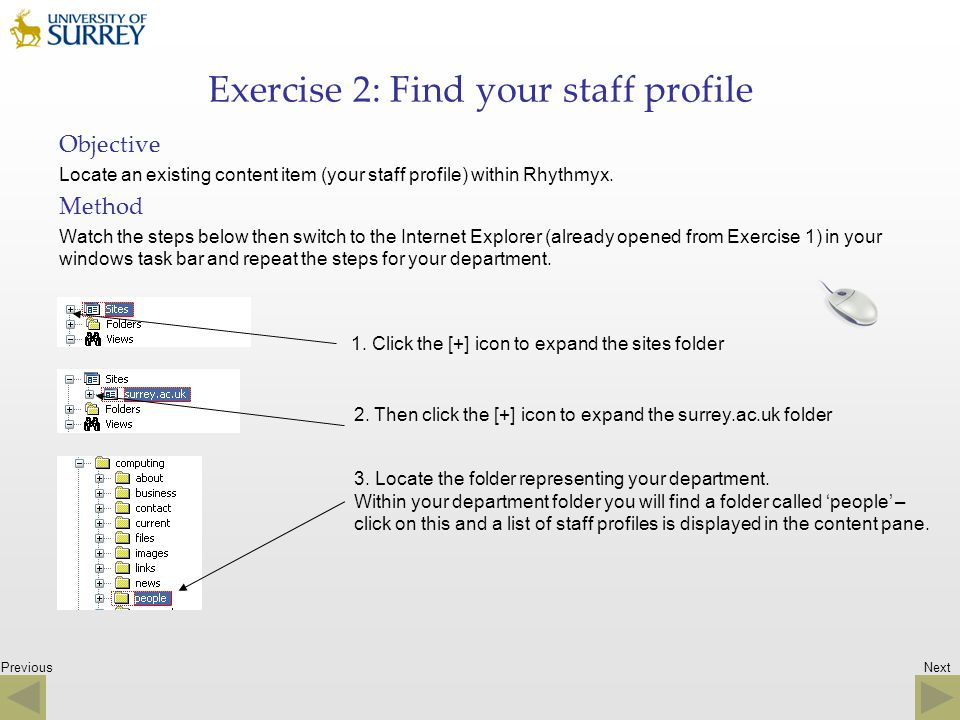 Exercise 2: Find your staff profile